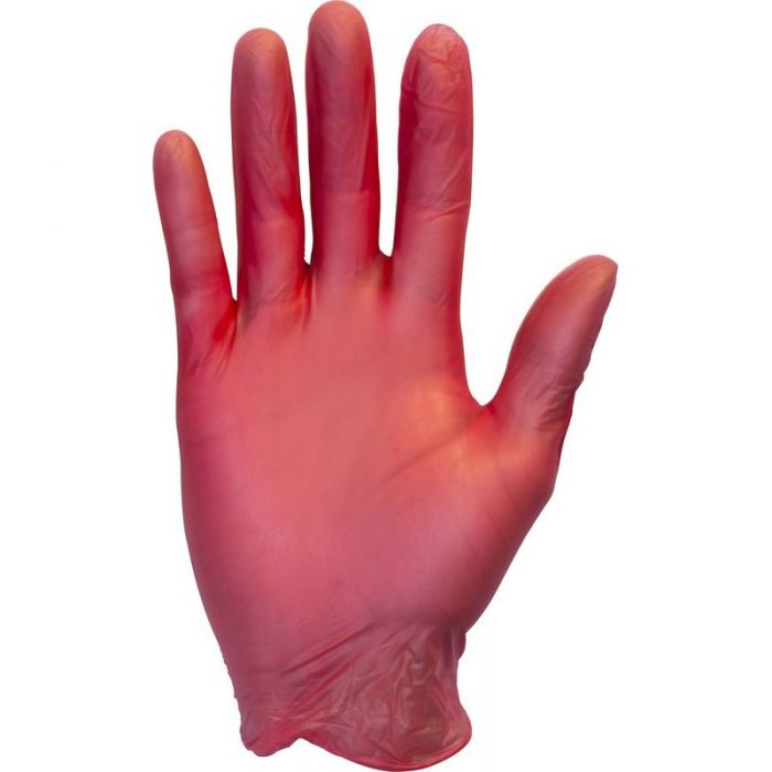 Red Vinyl Gloves Powered Medium x 100